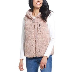 Weatherproof light pink Sherpa hood vest nwt